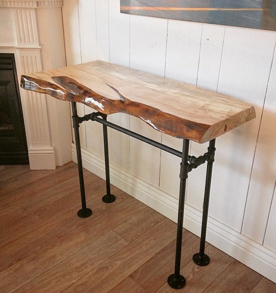 Sofa Table Canada: Industrial Live Edge Canadian Spalted Maple Console Table