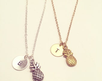 Pineapple Necklace - Optional Extra Personalised Initial Disc - Available in gold or silver plated