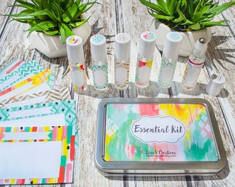 Essential Oils Kit for Travel- Roller bottles, tin, labels, and recipe cards
