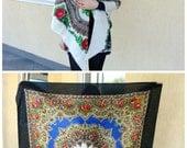 Wedding shawl-Vintage wool Russian floral shawl-White Ukrainian shawl-Extra large wool floral scarf-Black shawl-Russian shawl-Wedding scarf