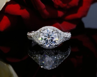 8mm Forever Brilliant Moissanite and Trillion Diamonds Three Stone Halo Engagement Ring with Diamonds in 18K White Gold, Milgrain Design