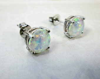 Fine Silver White Fire Opal Earrings White Opal Ear Studs Opal Earrings Wedding Bridal Earrings White Opal Stone October Birthstone Earrings