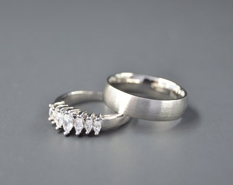 Stainless Steel Couple Set Classic Wedding Ring Queen Diamond Marquee Cut