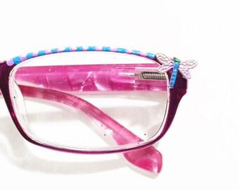 Reading Glasses women Dragonfly +2.00, Purple Reading glasses, Colorful Reading Glasses, Eyeglasses Painted