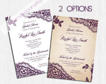 Bridal Shower Invitation, plum, Printable shower invite, Printable Digital file, Bridal Shower Invitation, elegant bridal shower, purple