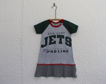 NY Jets T Shirt Dress, Recycled NY Jets T shirt Dress Girl's Size 6 Upcycled NY Jets T shirts, Jets Raglan Sleeve Dress, Jets T Shirt Dress