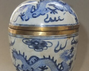 Antique Ceramic Cup with Lid Tibet