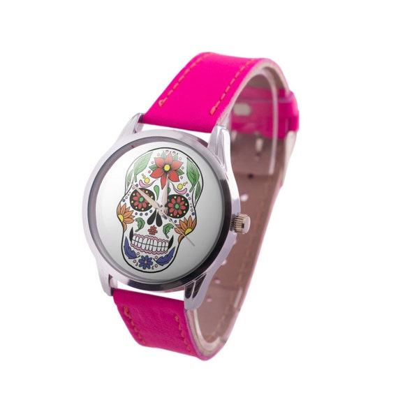 Sugar Skull Patterned Wristwatch, Day of the Dead Celebration Jewelry, Pink Leather Calav								<a href=