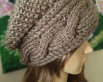 Knit Winter Hat with Button - Brown, Women's, Slouchy, Cable