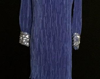 80's Purple Dress with Pearl and Rhinestone Cuffs           VG127