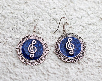 Blue music earrings Treble clef earrings Musical jewelry Resin earrings Navy blue earrings Circle earrings Musicians gift for Women gifts
