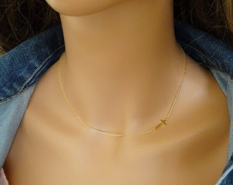 Ultra delicate Sideways Cross Necklace, Bridesmaid Necklace, Layering Necklace, Sideway gold cross necklace