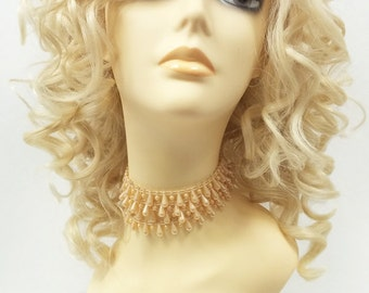 13 Inch Lace Front Blonde Curly Wig. Large Spiral Curls. Heat Resistant Synthetic Fashion Wig. [76-393-Molly-613]