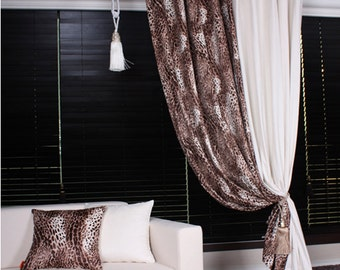 Brown Leopard Suede Curtain Drapery Panel