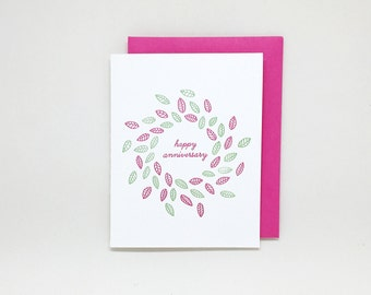 Letterpress Anniversary Card // anniversary card for parents, anniversary card for wife, anniversary card for husband, floral wreath, leaves