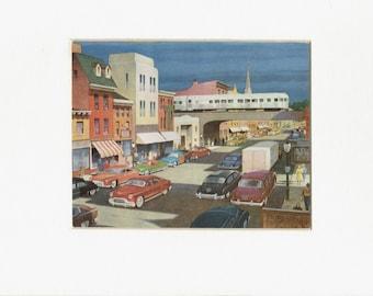 USA:Stylised American urban street scene 1951, original print