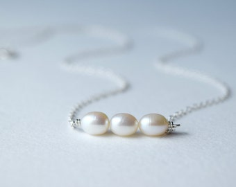 Pearl necklace, cultured pearl, June birthstone necklace, gift for her, reflecting Purity and all the best within us