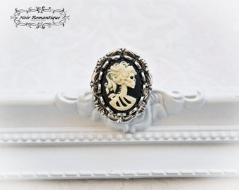 Silver Victorian skeleton lady Gothic Ring -Victorian Gothic Ring-Victorian Gothic Jewelry- Adjustable ring-Cameo Ring
