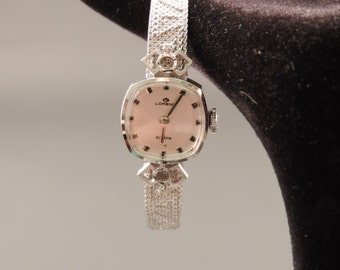 18 ct white gold ladies ' watch. with natural diamonds, signed Lorenz Edox