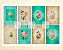 ACEO Gift Tags Printable Images Flowers Digital Collage Sheets Jewelry Holder Digital Ephemera Greeting Cards ArtRooster