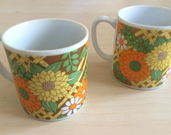 70s Set of Two Floral Mugs