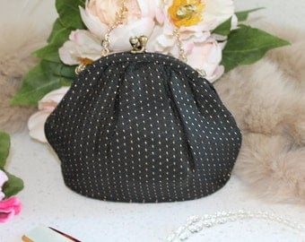 Vintage Black and Gold Brocade Evening Bag/Evening Wear/1940's/Wedding Accessory (1934T)