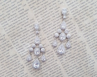 Big Bridal Earrings Swarovski Crystal Earrings Wedding