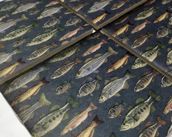 Ceramic Tile Fish Coasters, Man Cave Decor Fishing Coasters, Tile Coasters