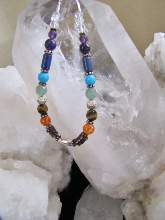 Full Chakra Rainbow necklace, Sterling Silver pendant, Gemstones, Chakra Balancing, Metaphysical, Sedona Jewelry, Charged, Healing Necklace