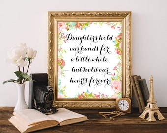 Daughter Quotes Baby Shower Girl Gift Teen Room Decor Calligraphy Canvas  Girl Nursery Wall Decor Baby