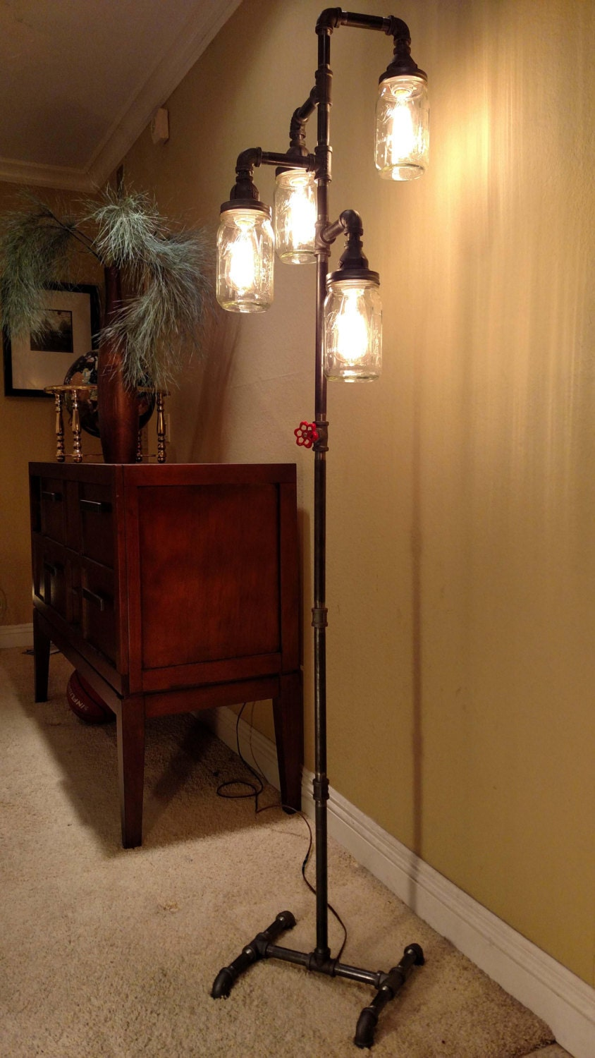 Pipe floor lamp 4 fixture living room steampunk mason jar does for Floor lamps for living room