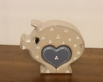 Hand-Painted Wood Chunky Pig with Removable Heart Insert