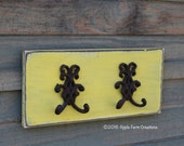 Wood Wall Hanging w/ 2 Rustic Cast Iron Double Floral Hooks Yellow French Country Distressed Country Primitive Vintage Farmhouse Antique