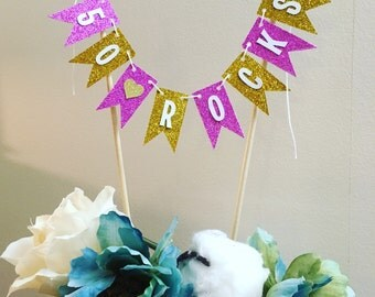 50 Rocks cake bunting . 50th birthday decorations . Birthday cake bunting