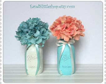 Mason Jars Wedding Decor-Wedding Centerpieces-Home Decor-Shabby Chic Decor-Vase Table Centerpiece Decor-Aqua-White-Baby Shower Decor
