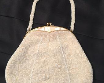 Vintage Ivory Beaded Mother of Pearl Handbag