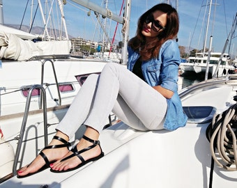 Black Leather Sandals - Strappy Sandals - Summer Flats. Genuine Leather, Handmade in Greece.