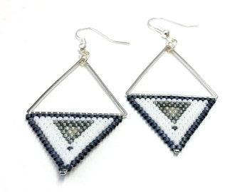 Earrings silver triangle triangle earrings geometric earrings Peyote beadwork embryo handmade