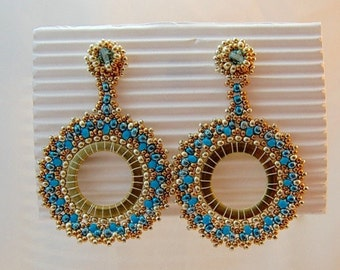 Creole to beaded earrings gold turquoise beadwork embroidery earrings turquoise glass Pearl Earrings handmade earrings
