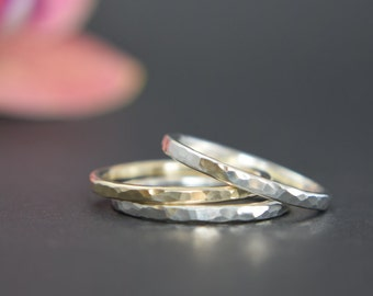 Stacking Rings - Gold Silver Stacking Rings - Thick Stacking Rings - Mixed Metal Rings - Gold Stack Rings - UK Handmade