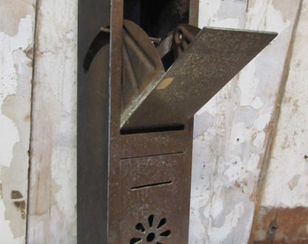 SALE Metal Mail Box, Apartment Building  Mailbox, House Mailbox, Metal Decor, Vintage Mailbox
