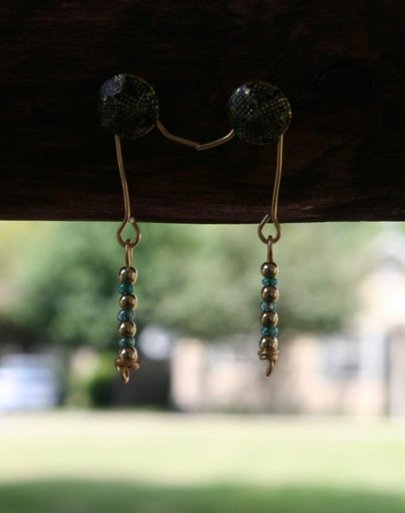 Gold and Turquoise Beaded Earrings