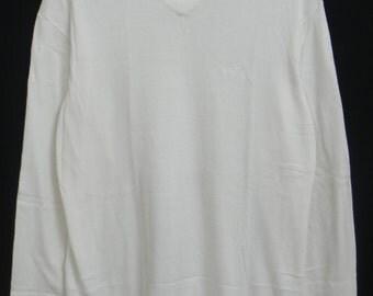 Rare 90s//Giorgio Armani Jeans/Milano/Embroided Logo/Luxury/Knitwear//Long Sleeve Shirt/V-neck//Made in Italy
