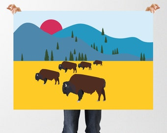 Bison Print, Printable Art, Nursery Decor, Instant Download, Buffalo Print, Mountain Print, American Prairie, Animal Art