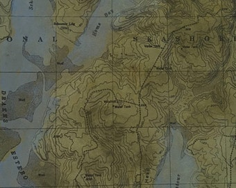 "Uncharted ""Point Reyes"" monoprint, etching with chine colle, map imagery"