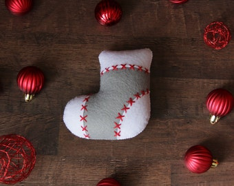 Christmas stocking ornament Felt Christmas ornament Gray stocking Gray ornament Small stocking Christmas tree Gray Christmas Safe ornament