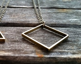 Vintage Brass Geometric Square Pendant Necklace - Rustic Modern Necklace - Men's + Women's Geometric Jewelry by Idle King