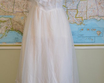 Vintage White Swiss Dot Floor Length Gown with Lace Trim