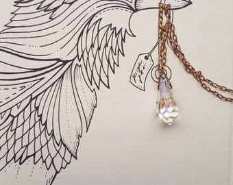Crystal Charm Necklace - Charm Necklace - Crystal Necklace - Drop Necklace - Vintage Charm