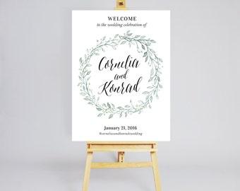 Printable Wedding Welcome Sign / Botanical Wedding Welcome Sign / Digital Wedding Welcome Sign / Customized Botanical Wedding Invitation